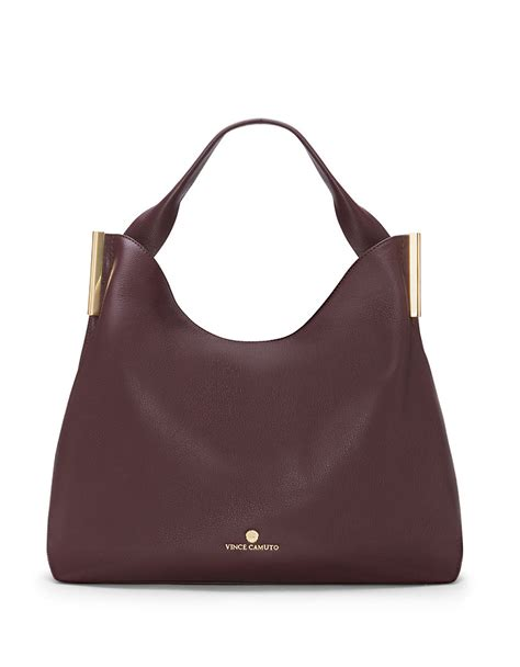 hobo leather bags vince camuto tina leather hobo bag in purple bordeaux lyst