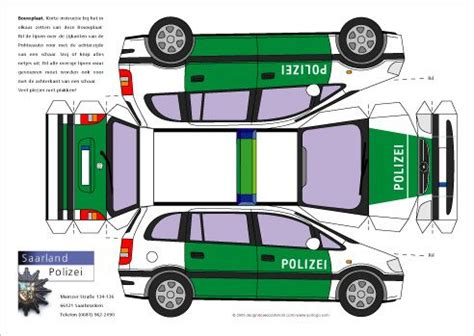 Polizeiauto Selber Malen by Opel Polizei Bastelbogen Papiermodelle Basteln Mit