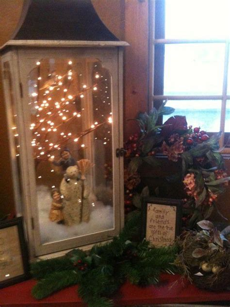 winter display in lantern christmas centerpiece ideas