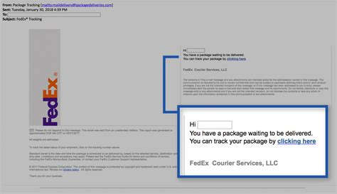 phishing notification fedex tracking information