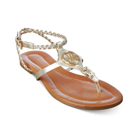 hilfiger flat shoes hilfiger strom flat sandals in gold gold lyst