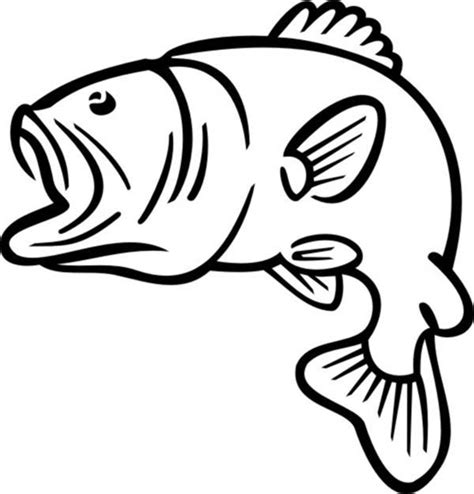 big boat outline bass fish clip art black and white clipart