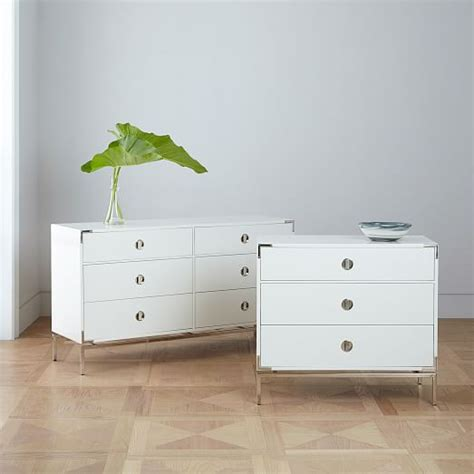 white lacquer caign dresser malone caign 6 drawer dresser white lacquer west elm