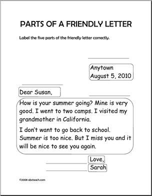 Parts Of A Business Letter Activity worksheet friendly letter primary abcteach