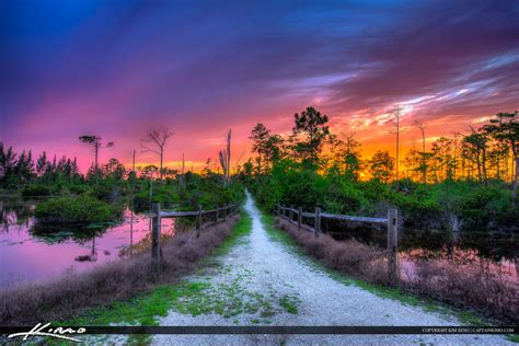west palm beach hiking trail  sunset