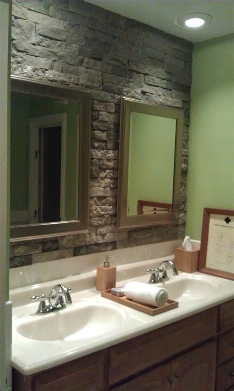 airstone stone accent wall  bathroom  wait