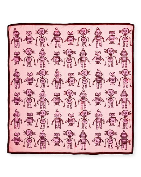 Scarf Droids Coroneo Silk Chiffon Square Droids Scarf Pink