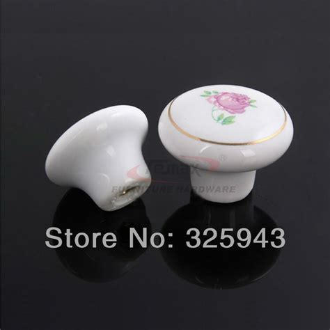 Porcelain Knobs And Pulls by 10pcs 38mm Garden Flower White Ceramic Cabinet Porcelain