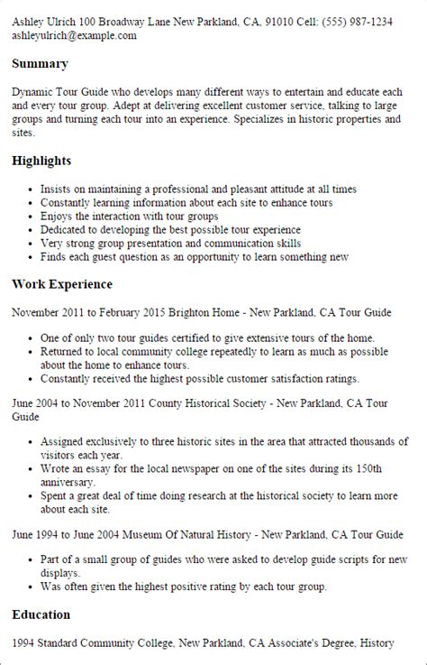 Tour Leader Sle Resume by Professional Tour Guide Templates To Showcase Your Talent Myperfectresume