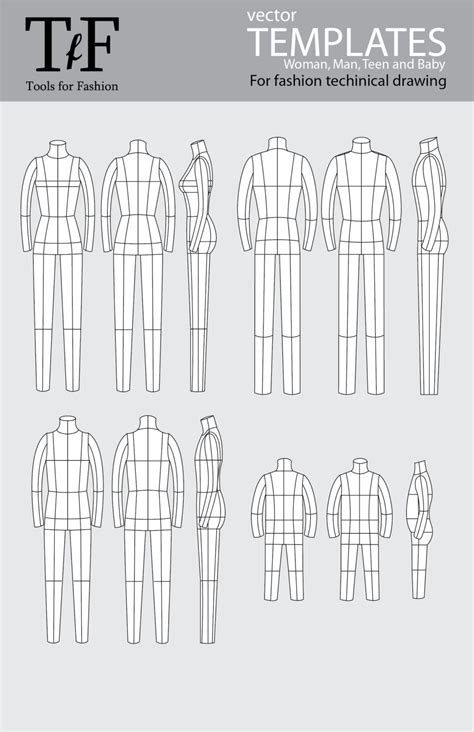 technical drawing templates fashion technical drawing templates