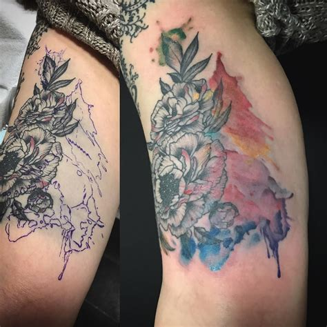 watercolor tattoos before and after before and after cover up of this blowout ink the