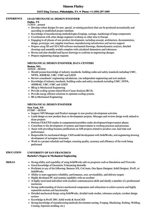 mechanical design engineer resume sle template great exle resume of mechanical design engineer
