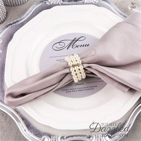40pcs pearl napkin ring rhinestone and pearl stretch loop