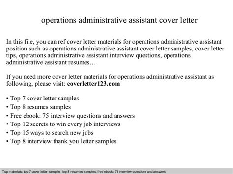 Operations Associate Cover Letter by Operations Administrative Assistant Cover Letter