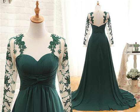 Handmade Bridesmaid Dresses - handmade sleeve prom dress pleated green