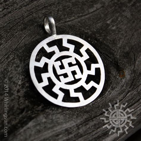 silver alemannic sunwheel fylfot pendant whirling sun