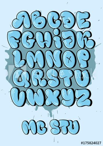 bubble style graffiti alphabet  set cool graffiti font