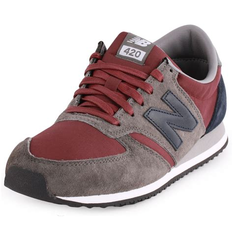 new balance 420 mens suede grey burgundy trainers
