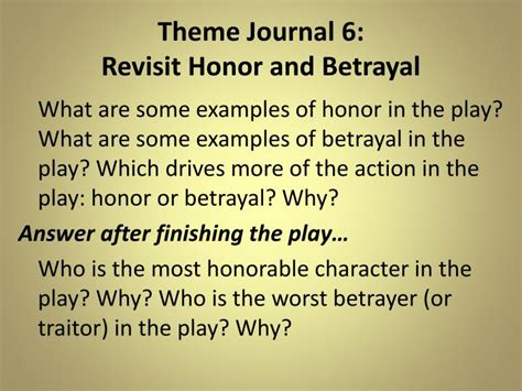 themes of betrayal in macbeth ppt theme journal 1 honor vs betrayal powerpoint
