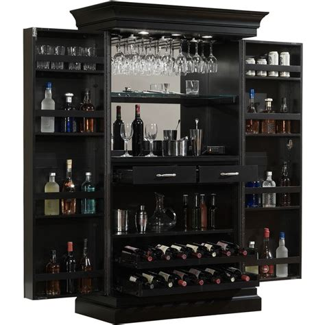 ashley heights black stain home bar wine cabinet black