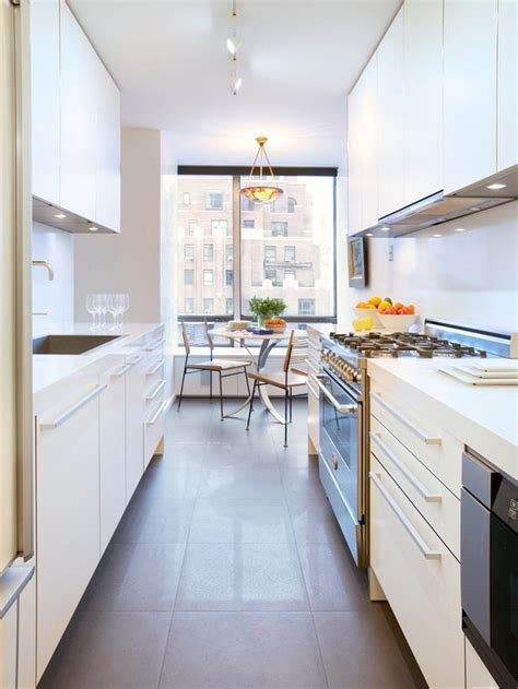 narrow galley kitchen design ideas modern white galley kitchen hgtv