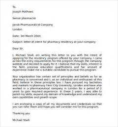 Residency Cover Letter by Sle Pharmacy Residency Letter Of Intent 3 Documents