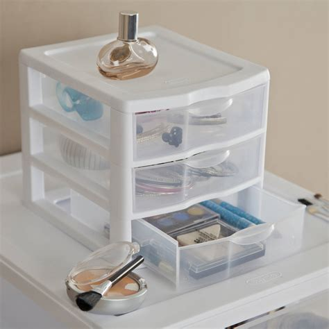 Bathroom Storage Bins Plastic Small 3 Drawer Storage Boxes Set Of 6 Home Organizer See Through White Ebay