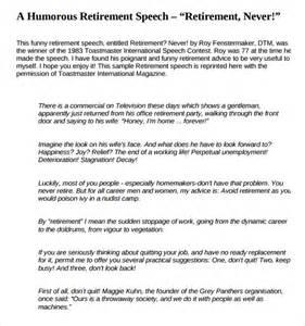 retirement speech template sle retirement speech exle 8 free documents in