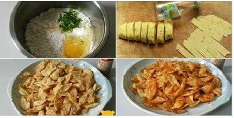 resep membuat kripik pangsit renyah pedas  gurih
