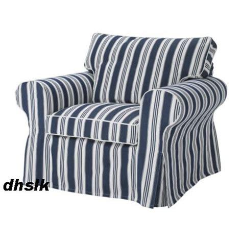 blue white striped armchair new ikea ektorp armchair slipcover cover toftaholm blue
