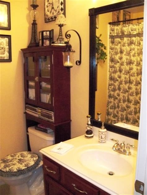 black white yellow toile bathroom home decor