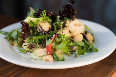 fried calamari salad off the hook s new brunch menu let s dig in