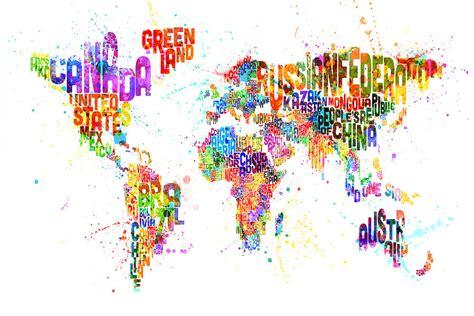 paint splashes text map   world digital art