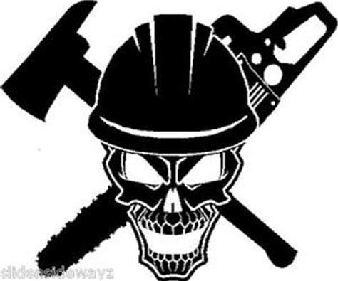 Family Wall Art Stickers logger skull vinyl decal sticker truck chainsaw logger