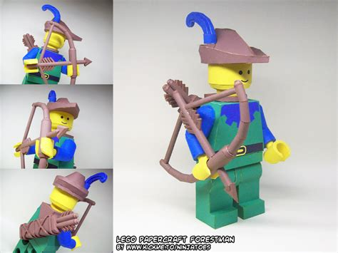 How To Make A Paper Lego - papercraft lego forestman with bow arrow by
