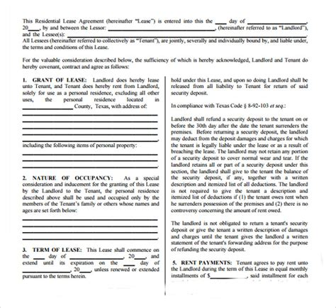 Residential Lease Agreement Pdf Free Sle Residential Lease Agreement 7 Documents In