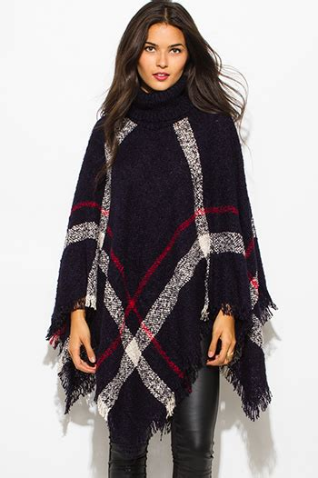 Jaketsweaterhoodie Boho Sweater Maroon Colour Wanita burgundy wine color block hooded fringe trim faux leatherclasp sweater knit poncho tunic top