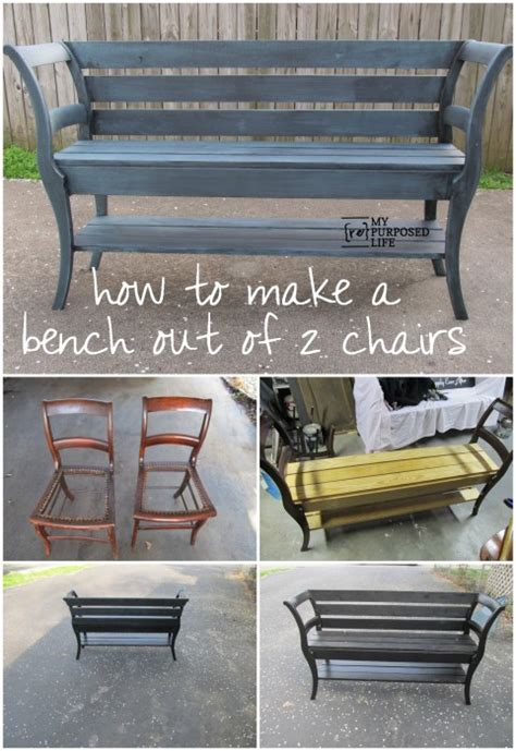 making a bench how to make a bench out of 2 old chairs iseeidoimake
