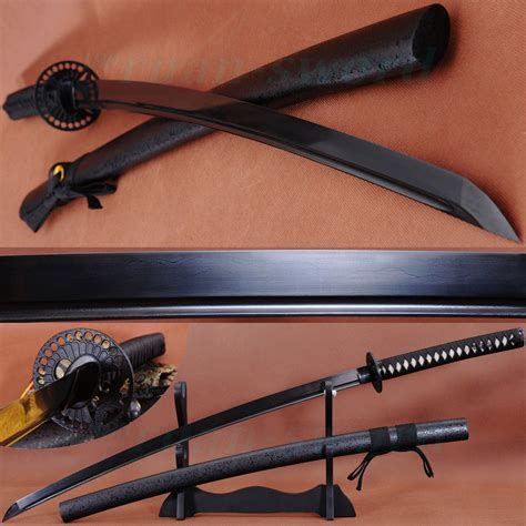Katana Tsuba Black 41 quot handmade japanese samurai black folded steel sword katana iron tsuba sharp in swords from