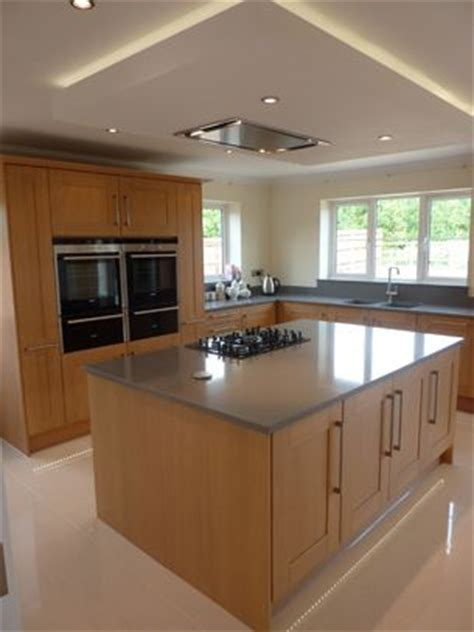 kitchen island extractor suspended ceiling with lights and flat extractor hood over