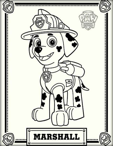 Paw Patrol Marshall Coloring Page paw patrol coloring pages color zini