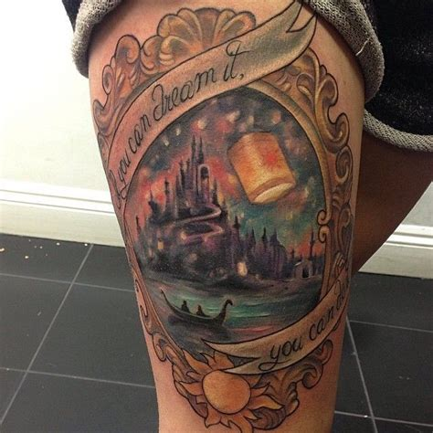 tangled tattoo rapunzel with a horizons quote princesses