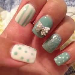 cute white 3d bow on teal nails 3d nail art pinterest