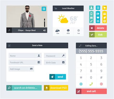 20 free flat user interface templates and designs