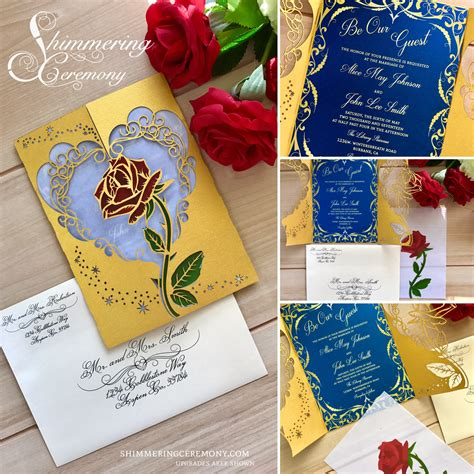 inspired wedding invitations and the beast inspired wedding invitation laser and magic cut gatefold princess