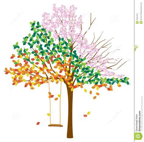 swing seasons tree with multiple seasons stock vector image of snow