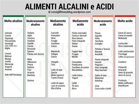 alimenti alcalinizzanti elenco cibi alcalini e cibi acidificanti lista