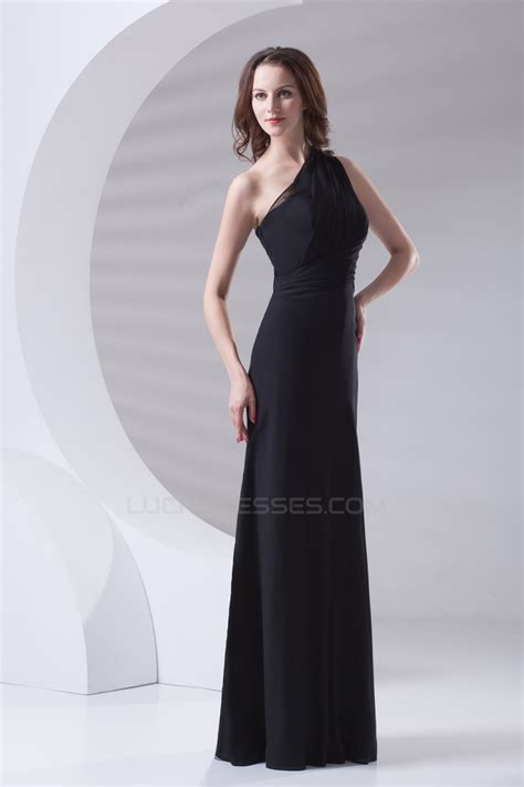 Sleeveless A Line Chiffon Dress a line sleeveless floor length one shoulder black