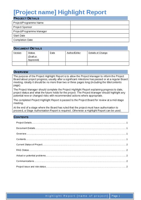 prince2 highlight report template project highlight report template 28 images project