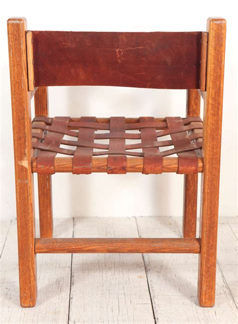 Woven Leather Dining Chairs Set Of Six Wood And Woven Saddle Leather Dining Chairs At 1stdibs